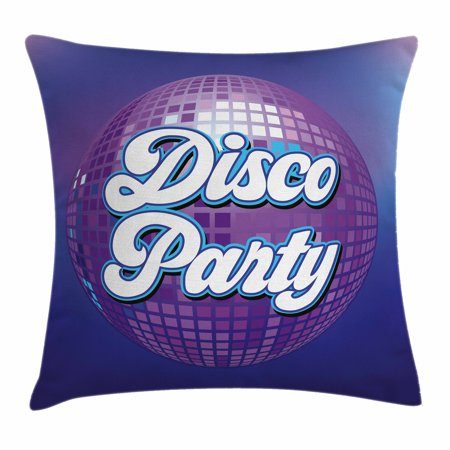 70s Party Decorations Throw Pillow Cushion Cover, Retro Lettering on Disco Ball Night Club Theme Dance and Music, Decorative Square Accent Pillow Case, 16 X 16 Inches, Purple Blue White, - Disco Themes