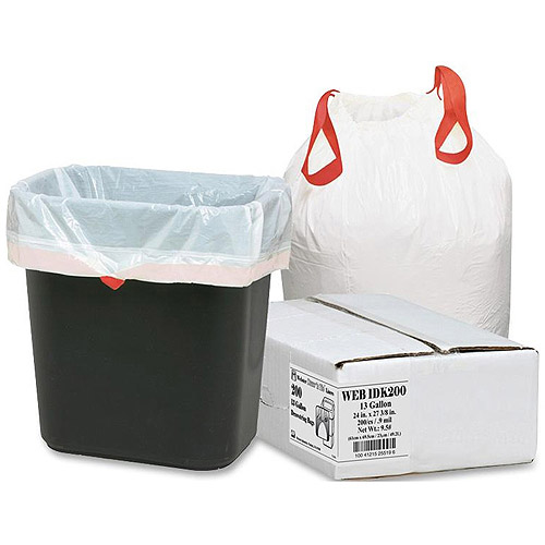 Webster Drawstring Trash Liners, White, 13 gal, 200 count
