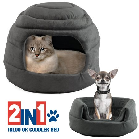Pet Igloo Cat Dog House Bed Kitten Puppy Cave Hut Enclosed Convertible Cuddler, Gray