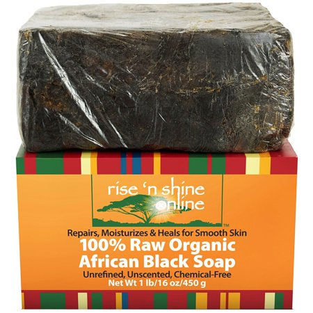 Raw African Black Soap with Coconut Oil and Shea Butter - Body Wash, Shampoo and Face Wash - Helps Clear Dry Skin, Acne, Eczema, Psoriasis - Authentic Organic Homemade Soap Bar from Ghana (16 oz) - Homemade Lemon Bars