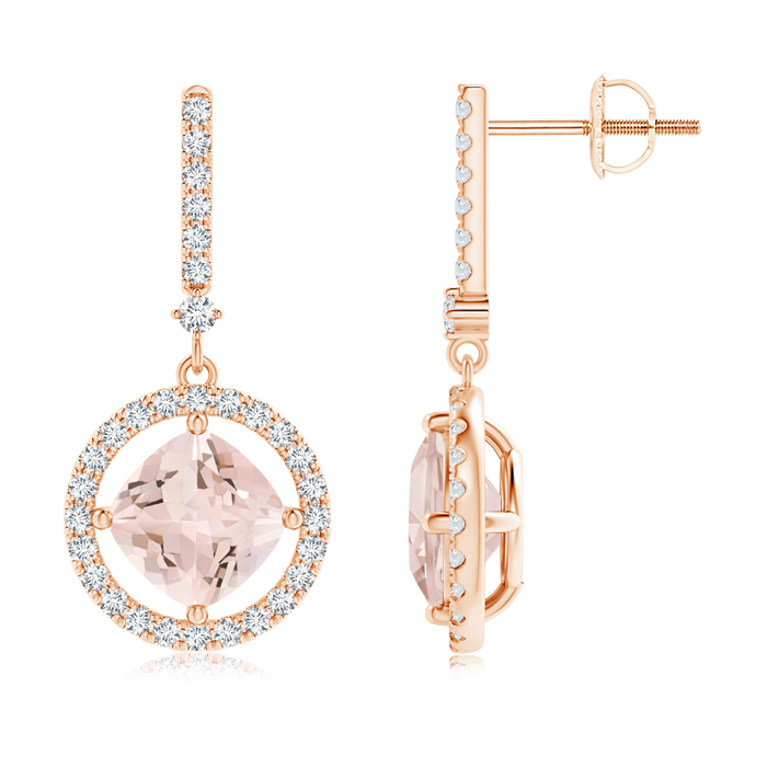 Angara Cushion Morganite Drop Earrings with Diamond Accents U93Xb4es0V