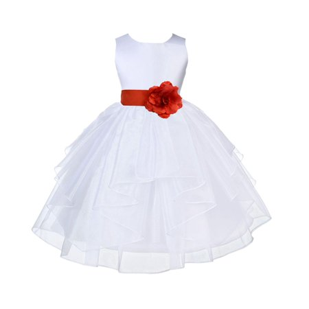 Ekidsbridal White Persimmon Shimmering Organza Christmas Party Bridesmaid Recital Easter Holiday Wedding Pageant Communion Princess Birthday Clothing Baptism 4613S size 6-9 month Flower Girl Dress