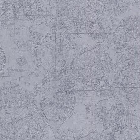 Beacon House Cartography Blue Vintage World Map Wallpaper