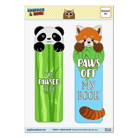 Panda You Pawsed Here And Red Panda Paws Off My Book Set Of 2 Bookmarks