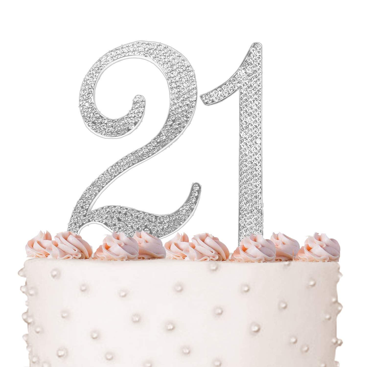 21 Cake Topper 21st Happy Birthday Anniversary Crystal Rhinestones On Silver Metal Party Decorations Favors