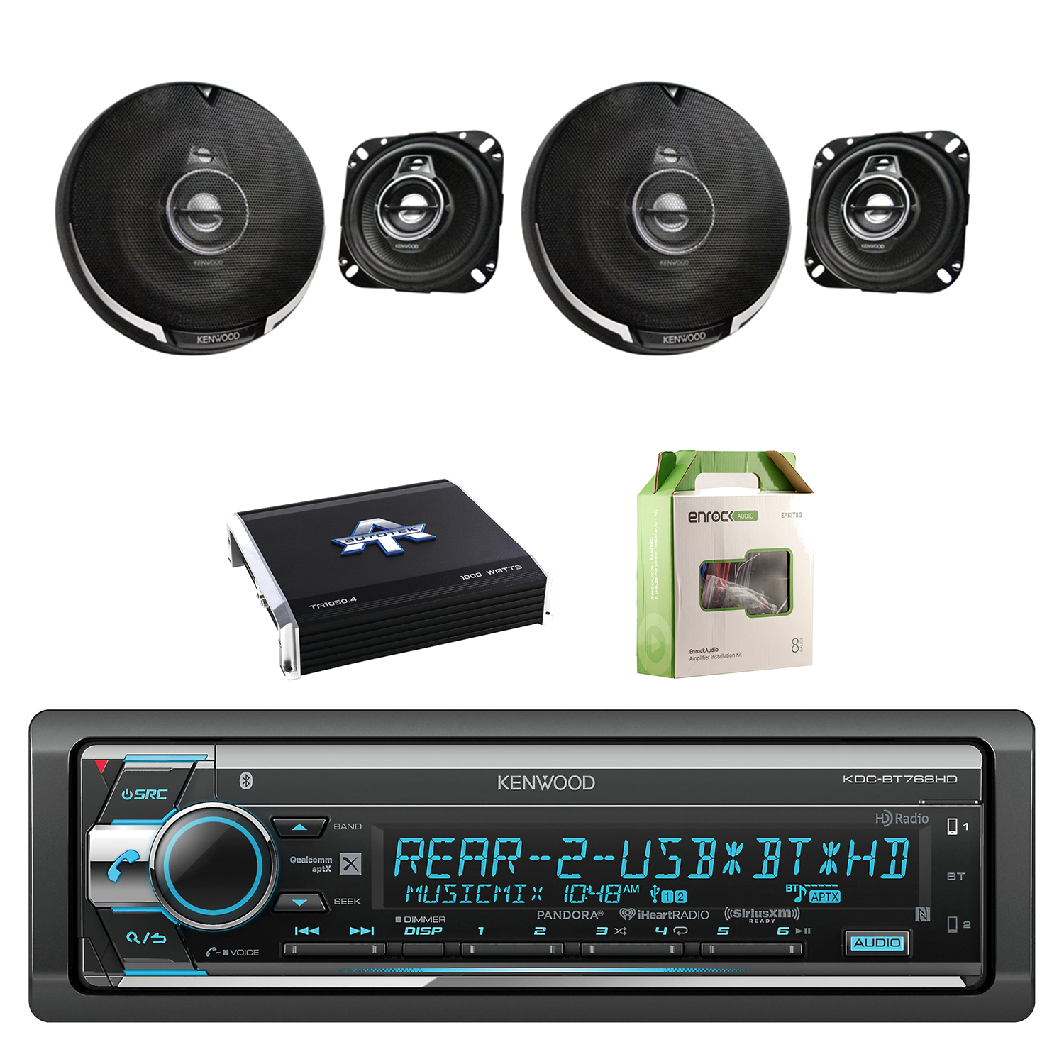 Kenwood Single Din CD/AM/FM Car Audio Receiver with Bluetooth with Kenwood Performance Series 4 Inch Flush Mount Car Coaxial Black Speakers 2-Pairs, Autotek TA Series Amplifier & Enrock Wiring Kit