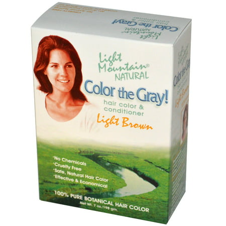 Light Mountain, Color the Gray!, Natural Hair Color & Conditioner, Light Brown, 7 oz (pack of 1)