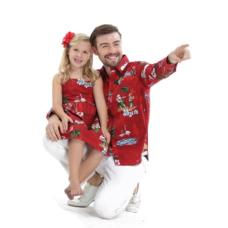 Girls Christmas Island - Matching Father Daughter Hawaiian Luau Outfit Christmas Men Shirt Girl Dress Red Santa Flamingo S-2
