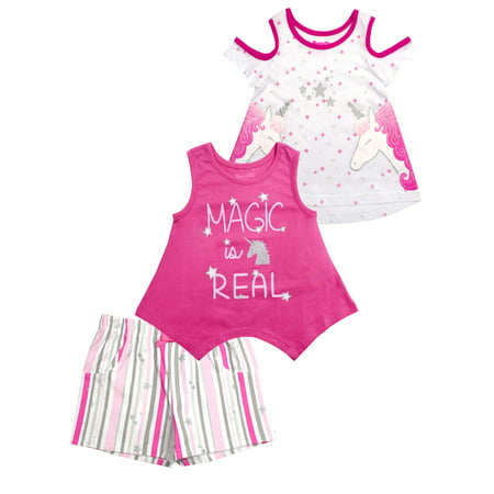 Unicorn Magic Cold-Shoulder Tee, Tank and Short, 3-Piece Outfit Set (Little Girls)