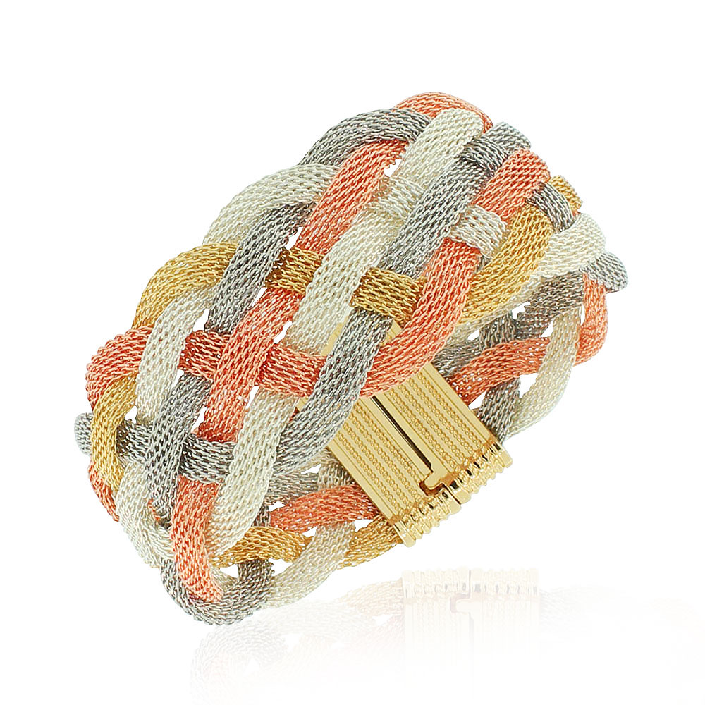 Fashion Alloy Multi-Tone Wide Mesh Bracelet, 7.5""