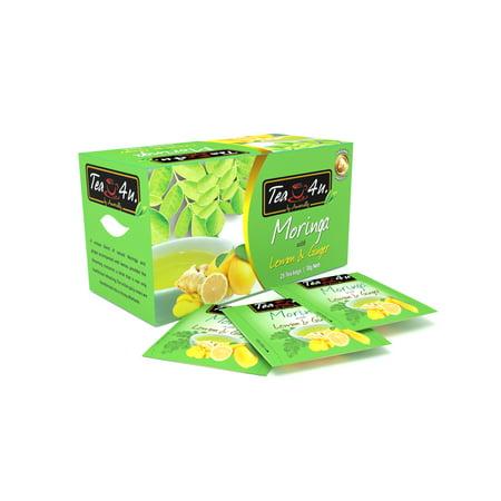 Tea4U Moringa with Lemon and Ginger Herbal Infusion, Moringa Oleifera from Sri Lanka, box of 25 teabags