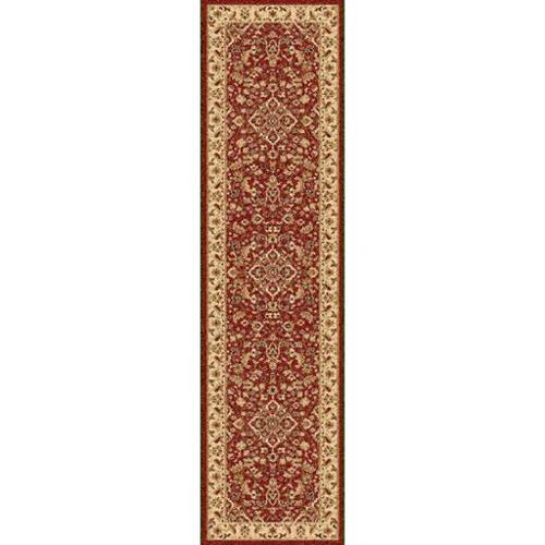 2' x 7.5' Champ De Fleurs Burgundy Red, Olive Green and Light Beige Decorative Area Throw Rug Runner