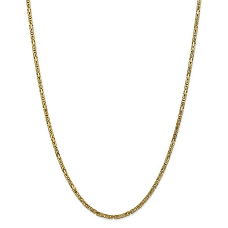"""14K Yellow Gold 2.5mm Byzantine Chain Necklace, 30"""""""