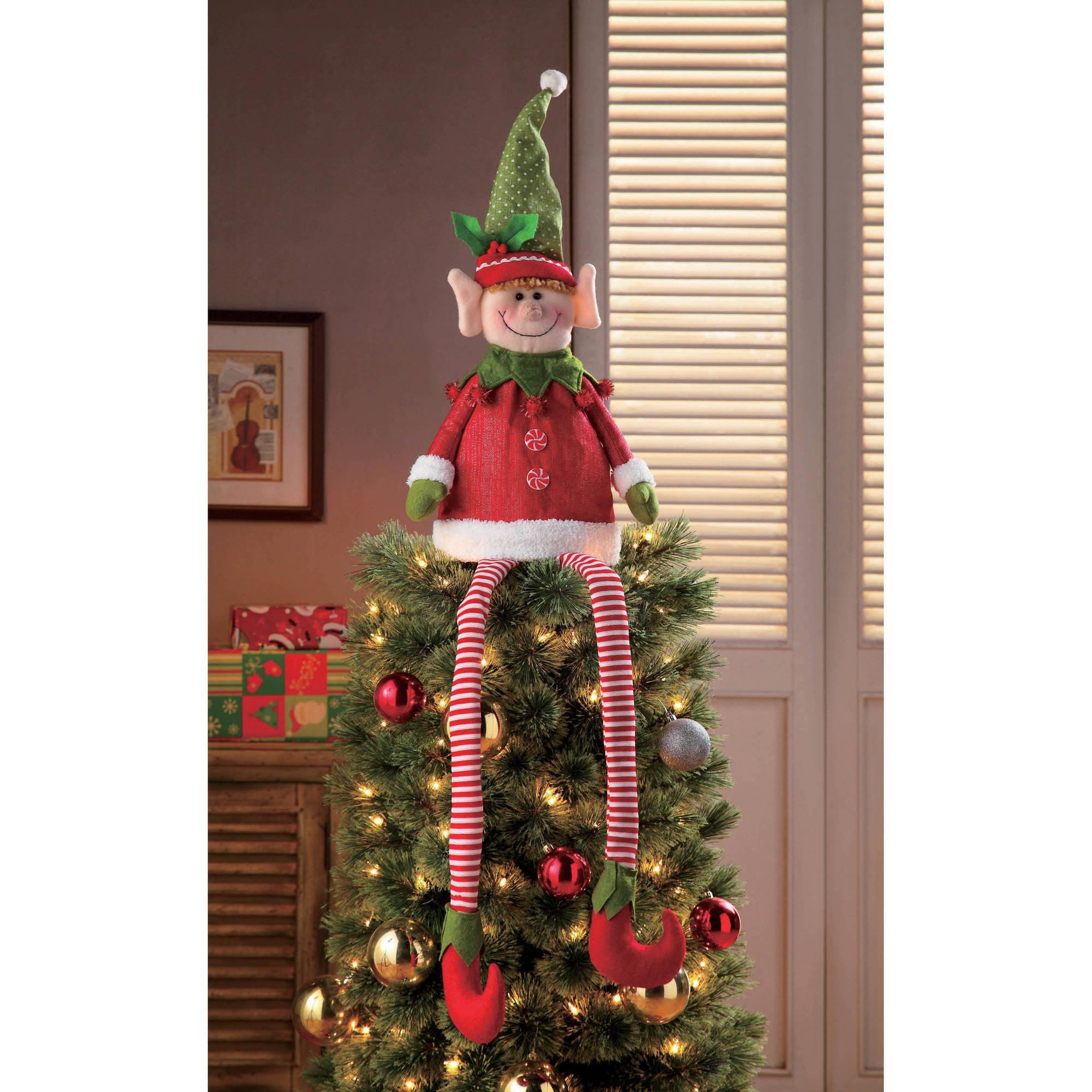 Holiday Time Christmas Decor Tree Topper Elf Walmart Com Walmart Com