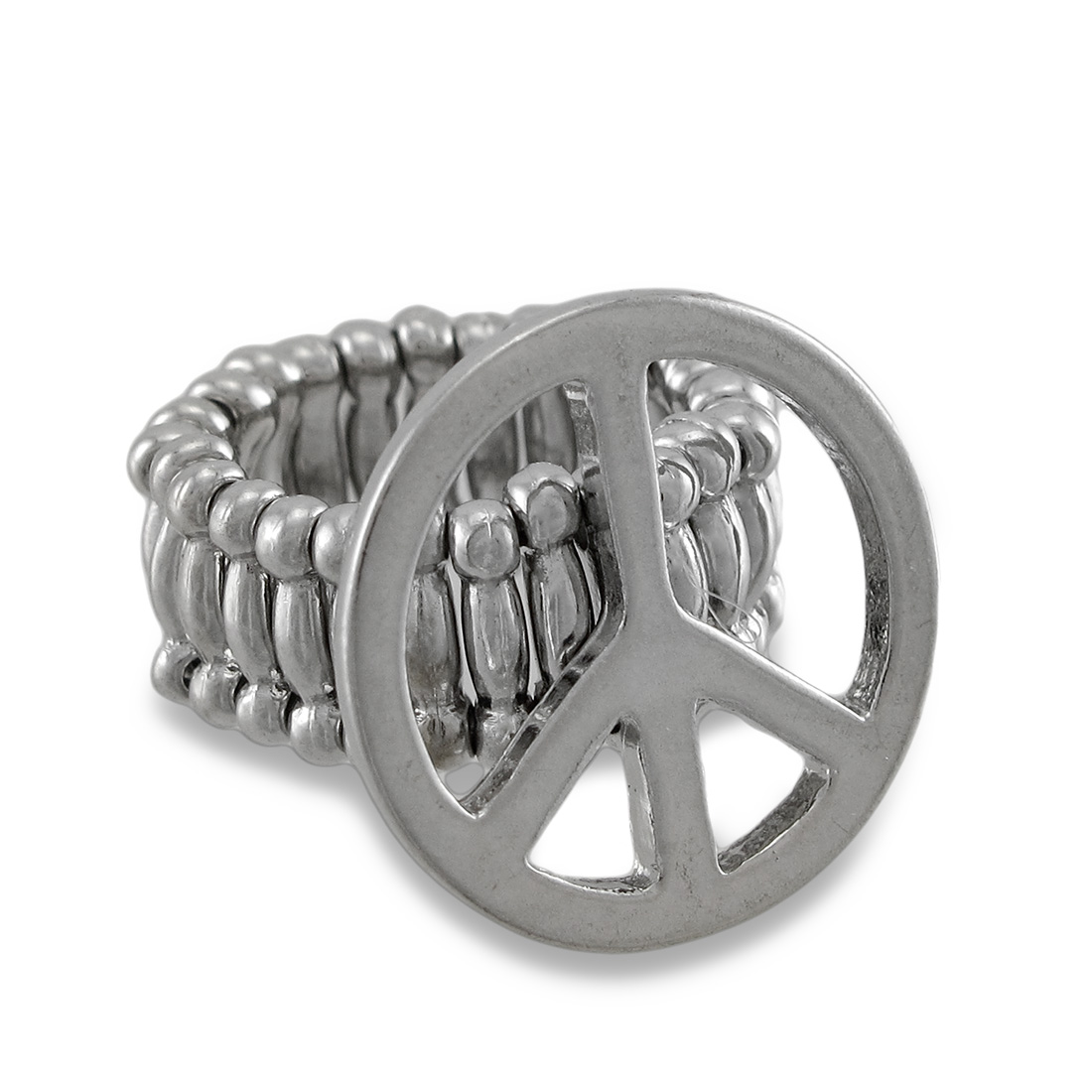 Silvertone Peace Sign Stretch Ring Hippie Love