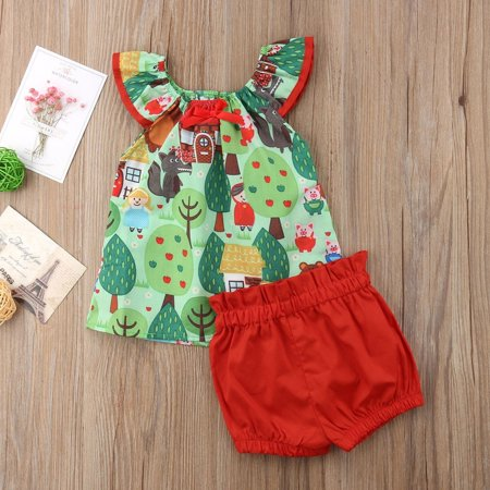 Cute Kid Outfits (Cute Toddler Baby Summer Animals Outfits Kids Girl T-shirt Top+Short Pants)