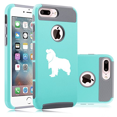 For Apple iPhone (7 Plus) Shockproof Impact Hard Soft Case Cover Cavalier King Charles Spaniel (Teal-Gray)
