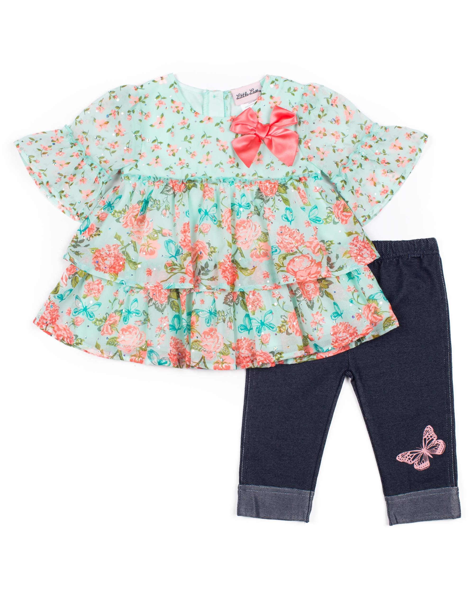 Short Sleeve Printed Chiffon Top with Bow & Capri, 2pc Outfit Set (Baby Girls & Toddler Girls)