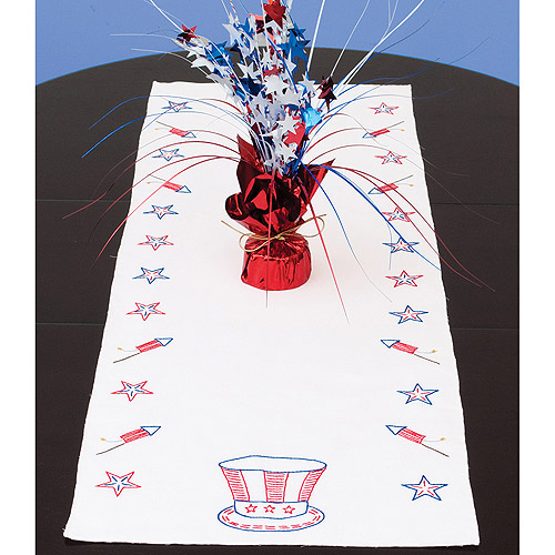 Stamped Table Runner/Scarf 15X42-Independence Day Multi-Colored