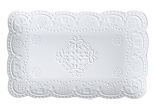Jusalpha Fine China Rectangle Embossed Lace Plate-1 Piece 12 Inches, Pink
