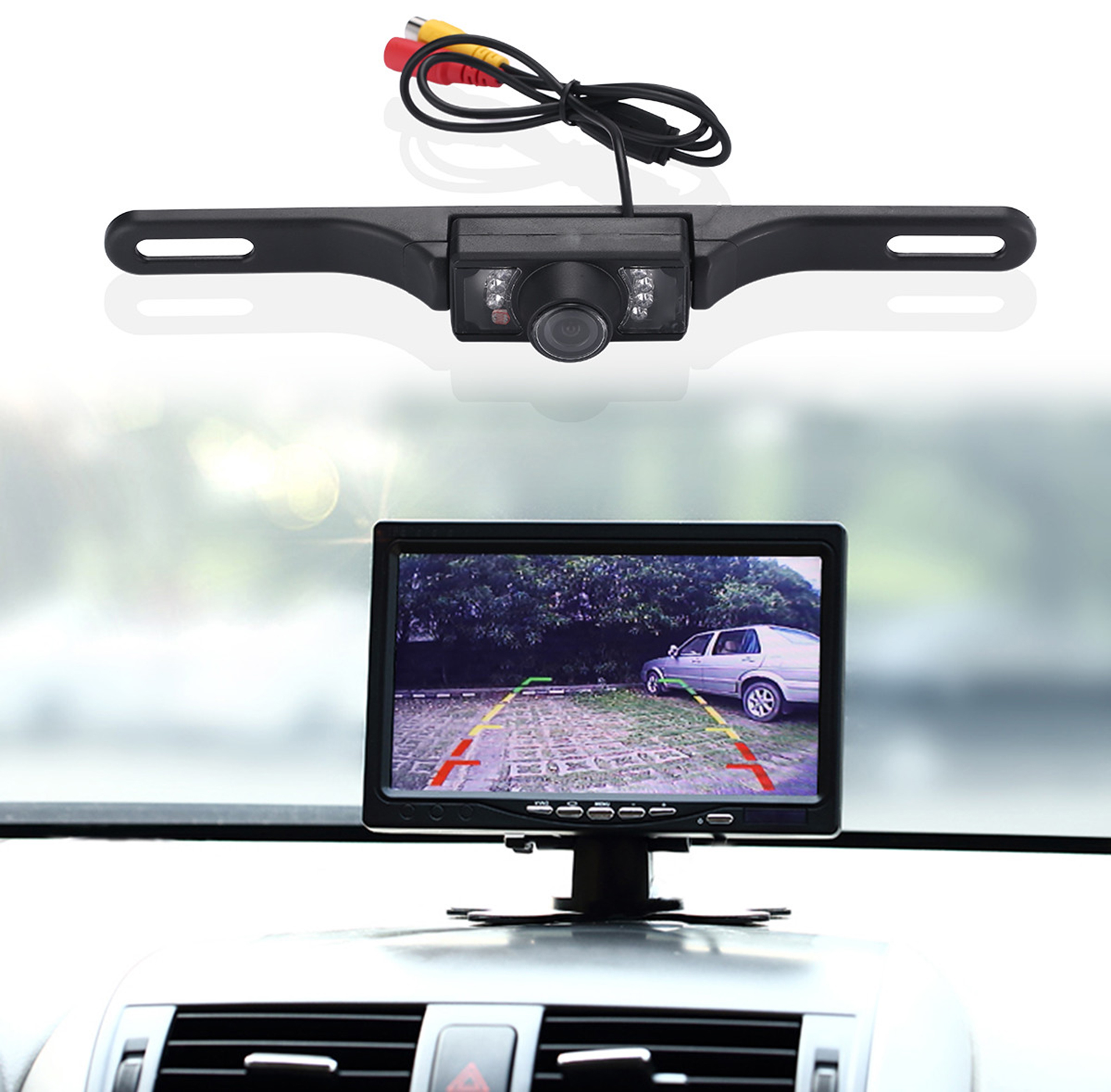 Car Rear View Backup Camera 7 IR Night Vision US License Plate Car Rear View Backup Camera Kit