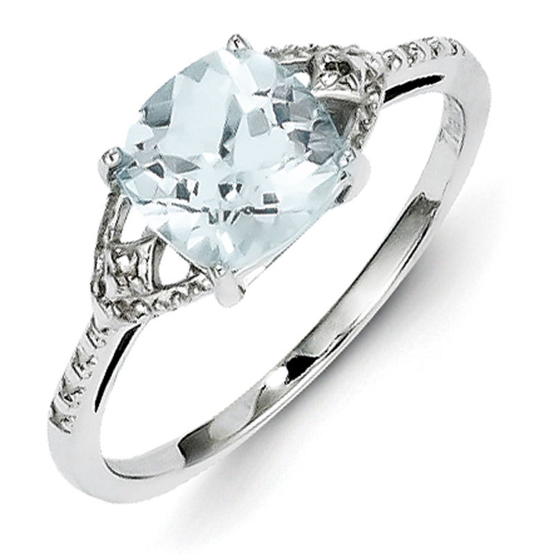 Sterling Silver Rhodium Plated Diamond and Aquamarine Ring