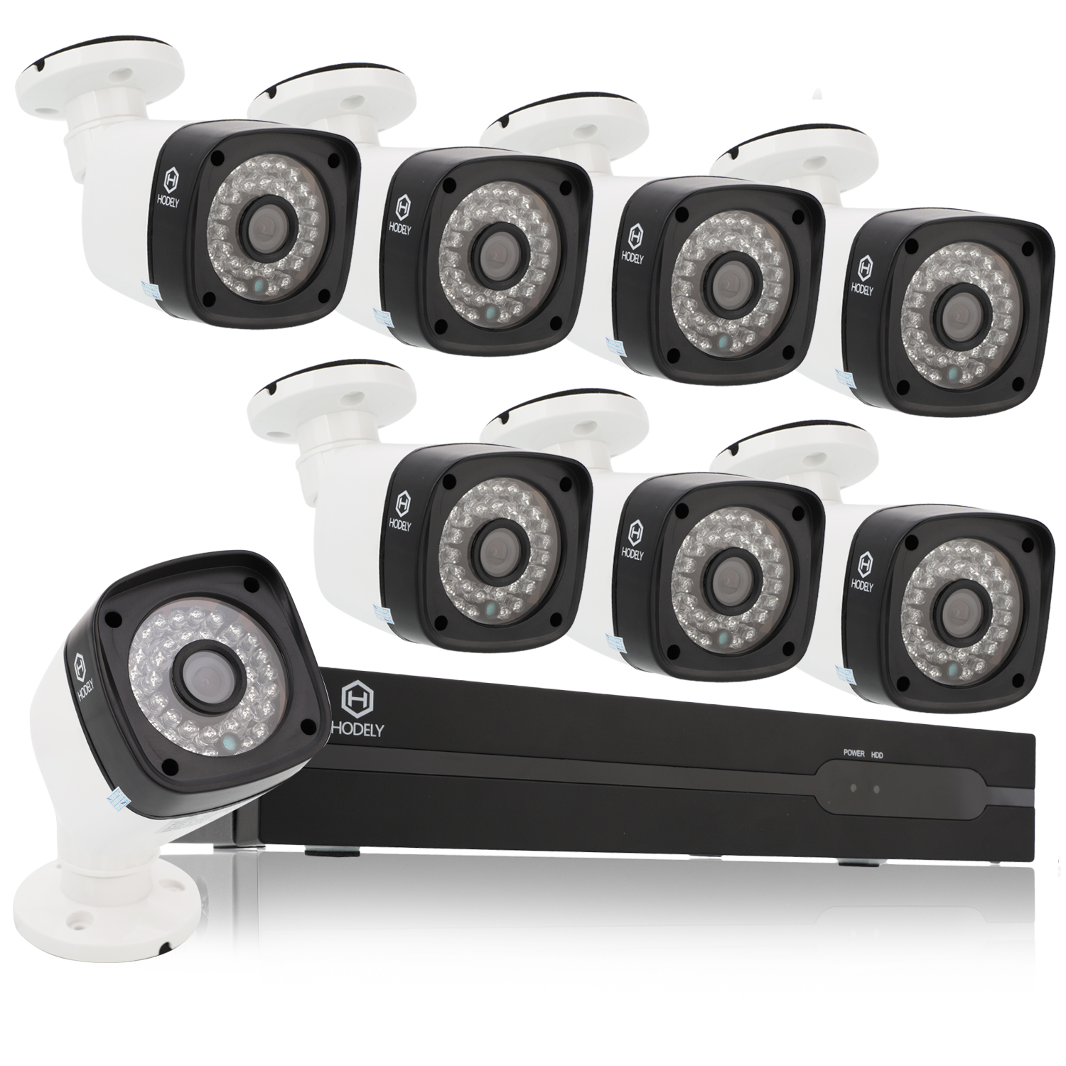 Ktaxon 8CH HDMI NVR 8Pcs Outdoor 720P PoE IR Night Vision Camera Home Security System Without HDD
