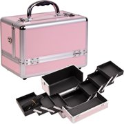 3-Tiers Expandable Trays Pink Makeup Case - C0001