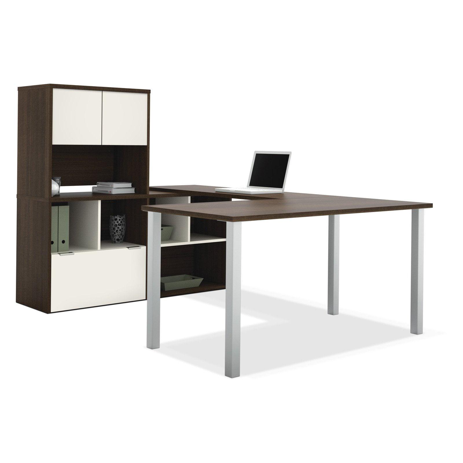 Bestar 50851-60 Contempo U-Shaped Desk with Storage Unit - Tuxedo / Sandstone