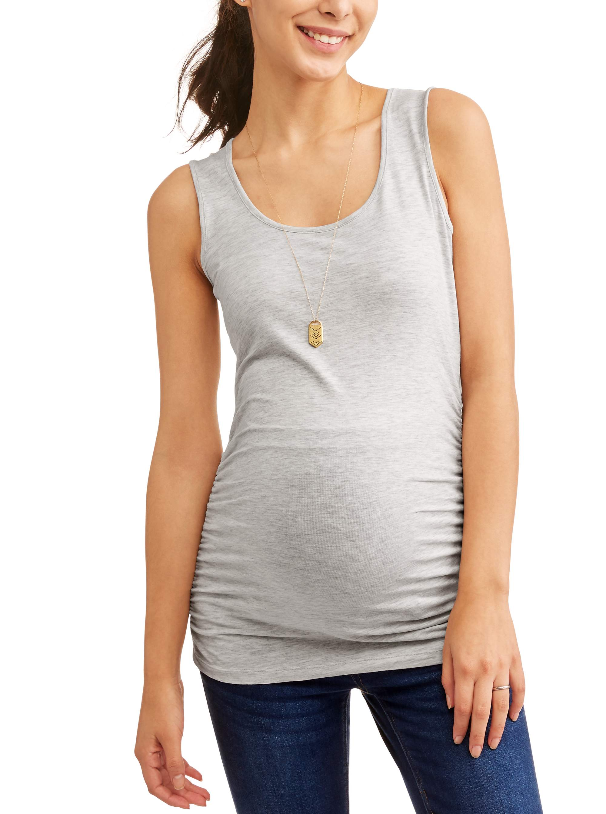 f97b5d733c019 Oh! Mamma - Maternity Basic Tank with Side Ruching-- Available in Plus Size  - Walmart.com