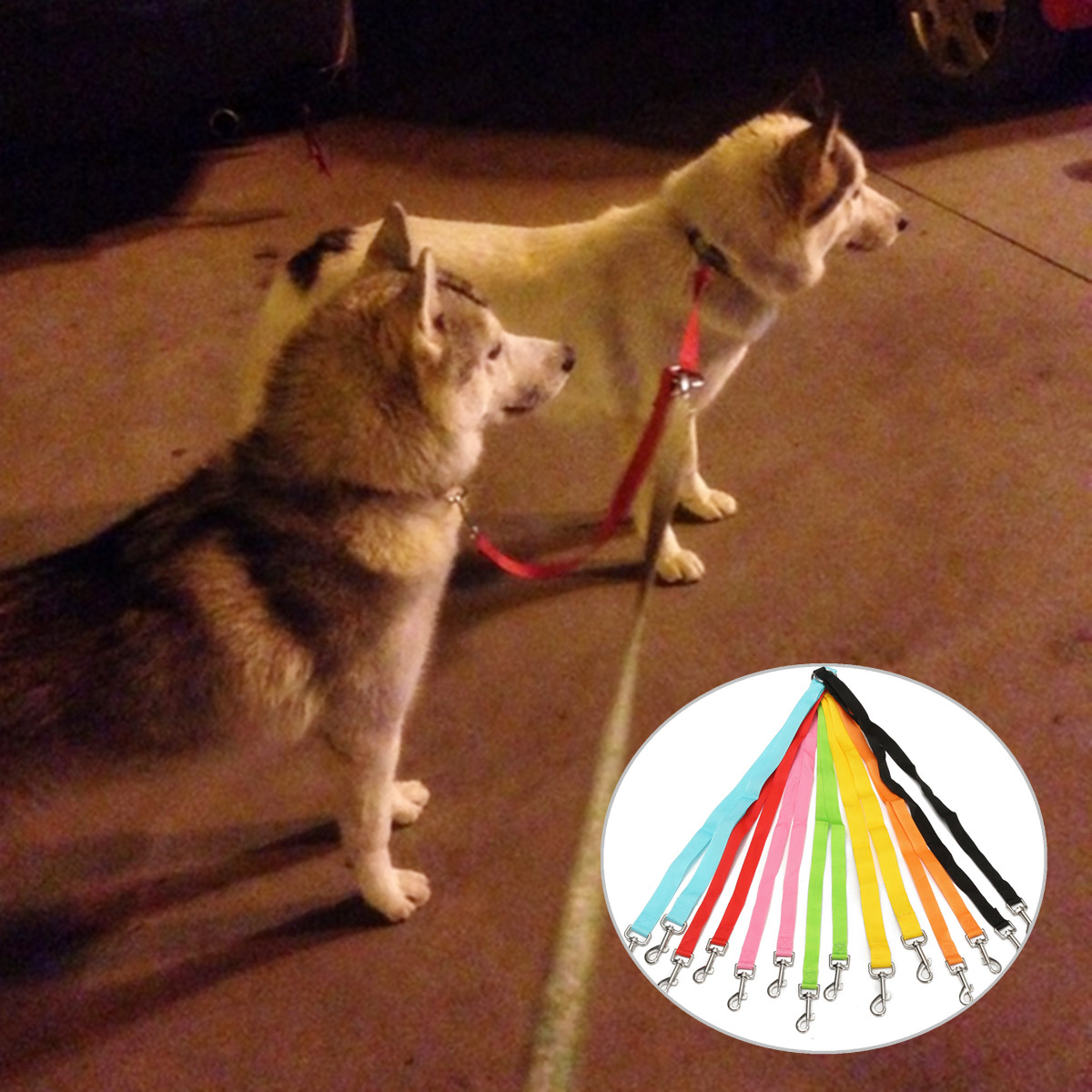 Double Dog Coupler Twin Lead 50cm Long Polyester Safety Dog Leash 2 Way NoTangle Pet Duplex