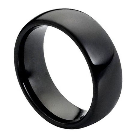 8mm Tungsten Carbide Brushed Beveled Edge Shiny Center Wedding Band Ring For Men Or Ladies ()