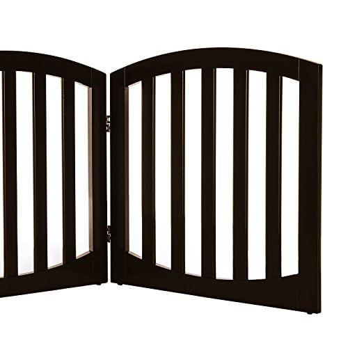Arf pets Free standing Wood Dog Gate, Step Over Pet Fence, Foldable, Adjustable - Espresso - image 4 de 5