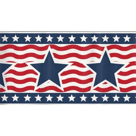 879730 American Patriotic - USA Star & Stripe - Red White Blue - Wallpaper Border 95845fp