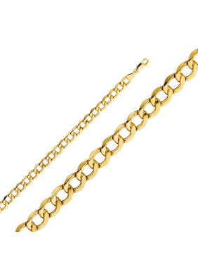 Jewels By Lux 14K Yellow Gold 6.7MM Hollow Cuban Bevel Chain Necklace With Lobster Claw Clasp - 22 Inches