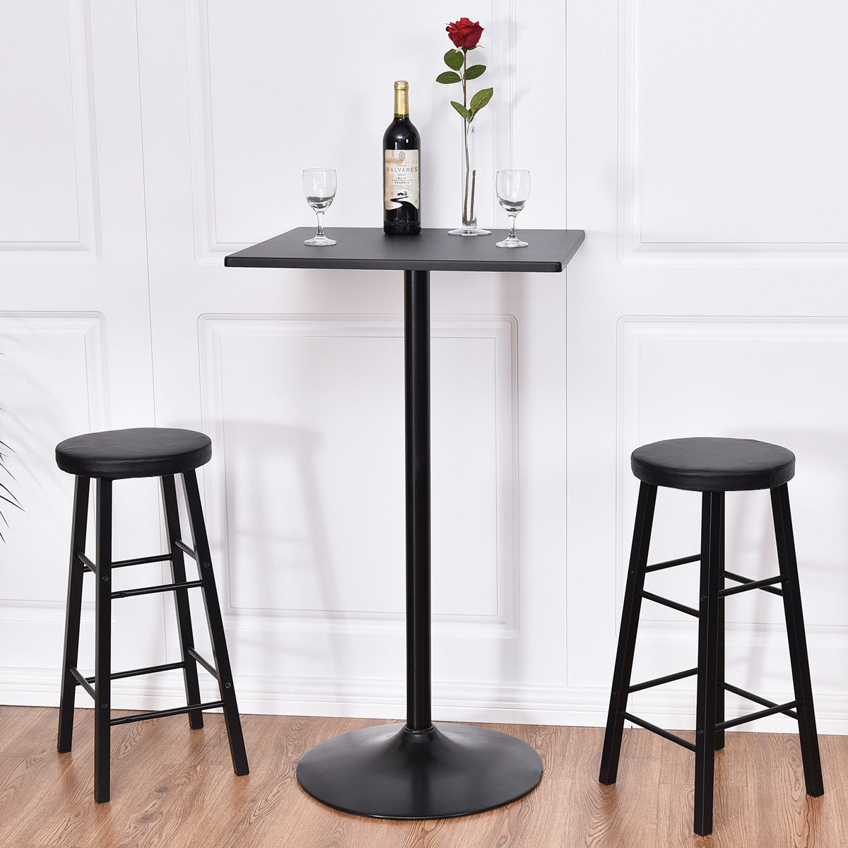 Costway 3pc Pub Table Top Set Bars Square Legs Stool Wood Black ,Pub Table Set, Kitchen Dining Furniture by Costway