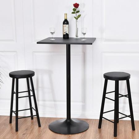 Costway 3pc Pub Table Top Set Bars Square Legs Stool Wood Black ,Bar table Set, Kitchen Dining
