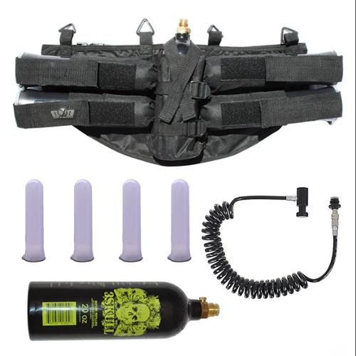 GXG Paintball Pack 4 1 Harness Black/Tubes/Coiled Remote/20oz Tank