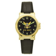 US Navy Leather Dress Watch (Gold Color)