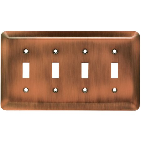 Franklin Brass Stamped Round Quad Switch Wall Plate