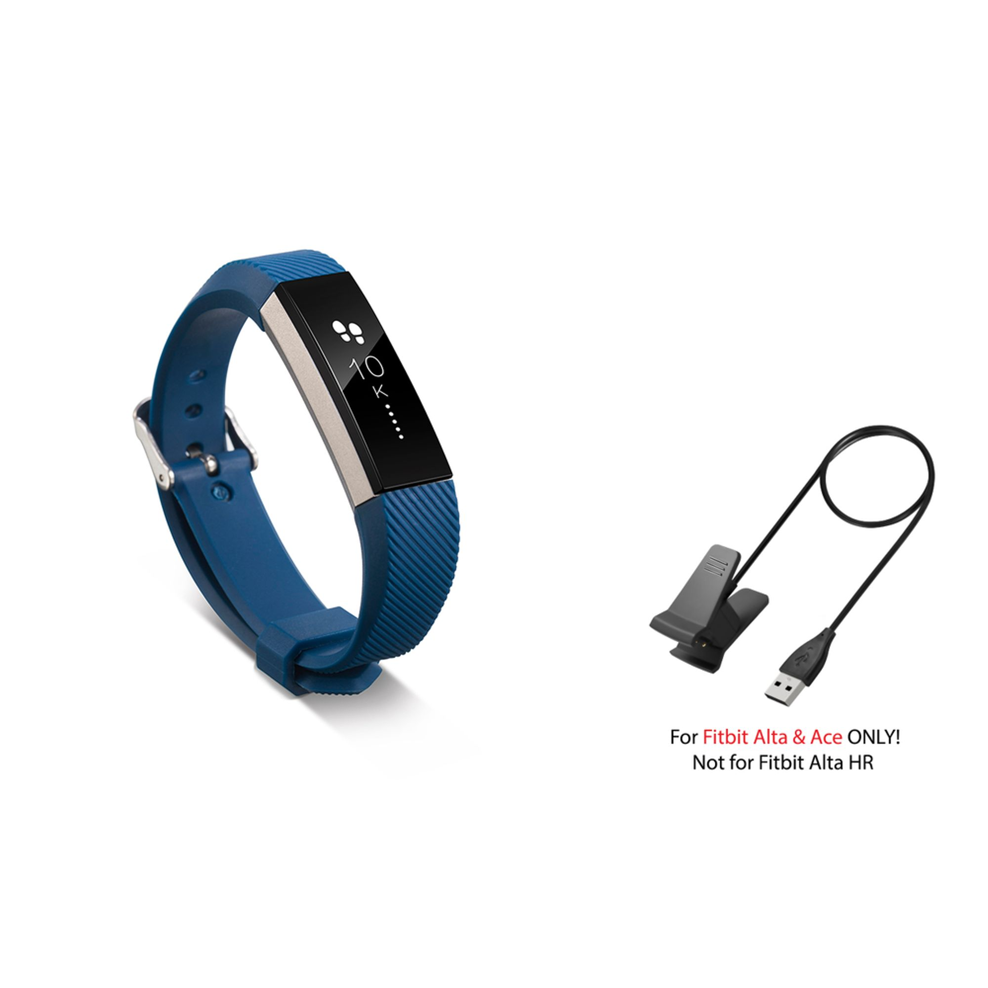 Fitbit Alta / Ace Band by Zodaca Replacement Band Wrist Band and Fitbit Alta / Ace Charger Cable Charging Cord Accessory Bundle for Fitbit Alta / Ace - Dark Blue