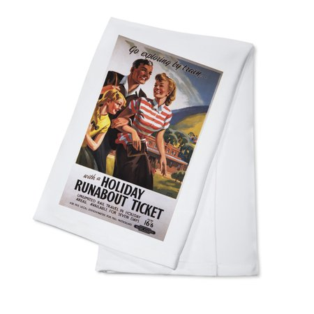 Family Trio on Holiday Runabout Savings British Rail Poster (100% Cotton Kitchen Towel)