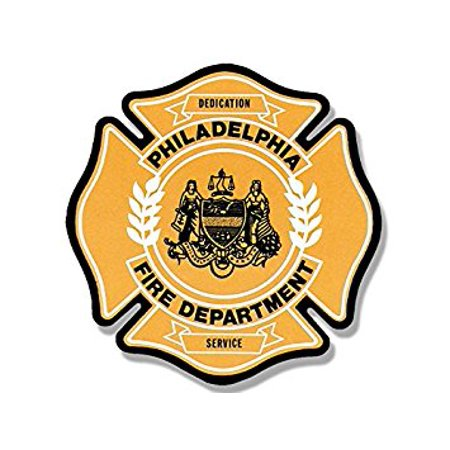 PHILADELPHIA Fire Dept Maltese Shaped Sticker Decal (firefighter rescue philly pa) 4 x 4 inch