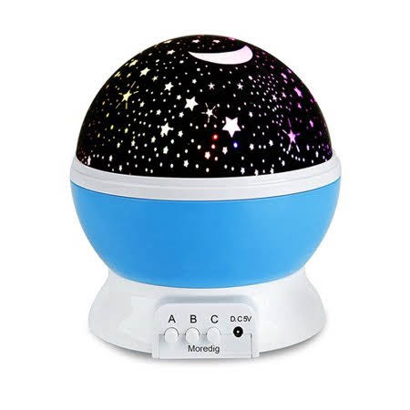 VicTsing Romantic Rotating Spin Night Light Star Moon Sky Projector Ceiling Romantic Cosmos Lamp for Children Kids in Bedroom (Blue)