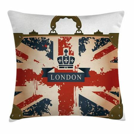 Ambesonne Union Jack Vintage Suitcase Square Pillow Cover Union Jack Vintage