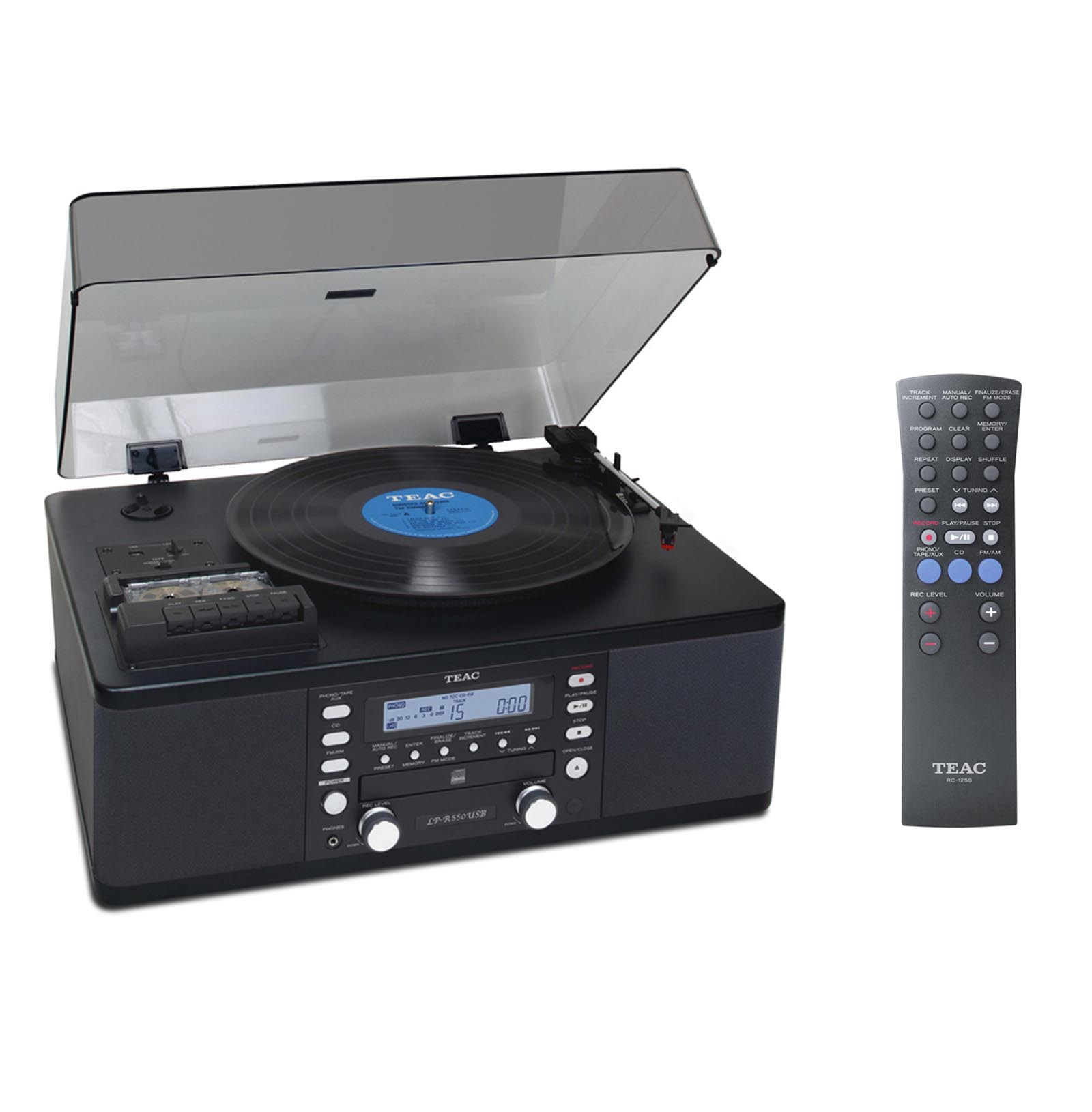 CD Recorder Cassette and Turntable BLACK by TEAC
