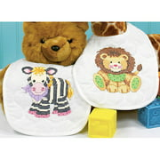 "Dimensions Baby Hugs ""Baby Express"" Bibs Stamped Cross Stitch Kit, 9"" x 14"", Set of 2"