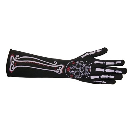 Long Skeleton Day Of The Dead Womens Adult Costume Gloves