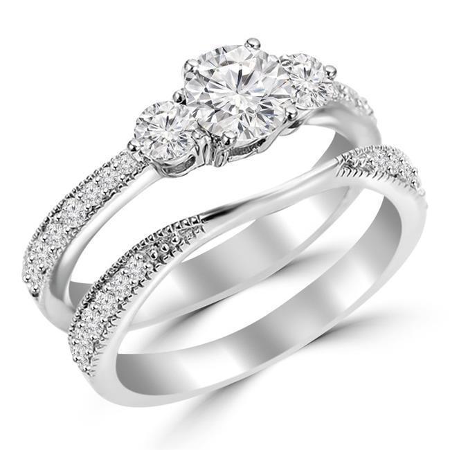 Majesty Diamonds MD170356-6.5 0.9 CTW Round Diamond Three-Stone Engagement Ring & Wedding Band Set Ring in 14K White Gold - Size 6.5 - image 1 of 1