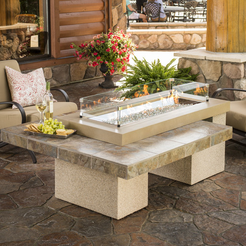 The Outdoor GreatRoom Company Uptown Crystal Firepit Table with Tile Top and Burner by The Outdoor GreatRoom Company